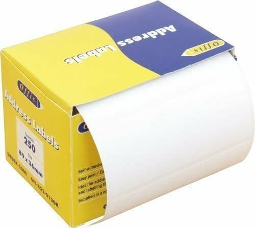 Self Adhesive Sticky Address Labels On a Roll 250 Premium Quality 89mm X 36mm